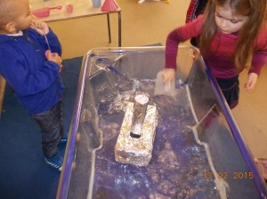 Making foil boats.