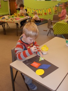 We have been looking at colours and shapes.