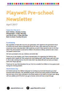 Newsletter April 2017