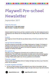 Playwell Newsletter Sep 17