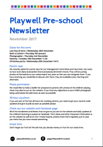 Newsletter Nov 2017